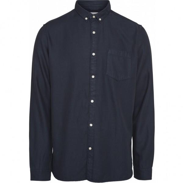 """Knowledge Cotton Latch L/S tencel Shirt """"Total Eclipse"""" 90686"""