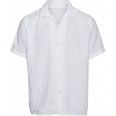 "Knowledge Cotton Wave SS Linen Shirt ""Bright White"" 90722"