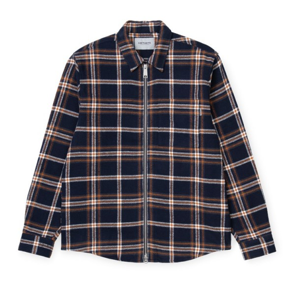"Carhartt L/S Bryan Shirt ""Bryan Check, Dark Navy/Blacksmith"" I028232"