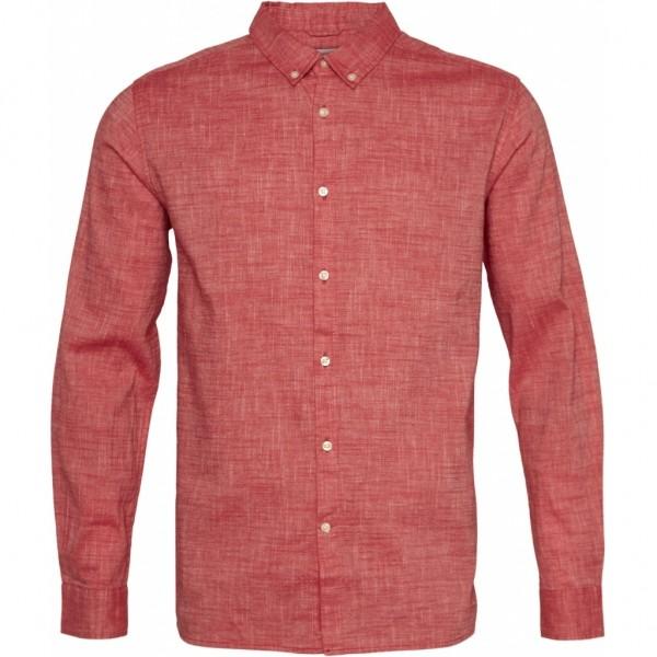 """Knowledge Cotton Larch LS Linen Shirt """"Scarlet"""" 90803"""
