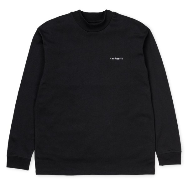 """Carhartt WIP L/S Mockneck Script Embro T-Shirt """"Black"""" I027040"""