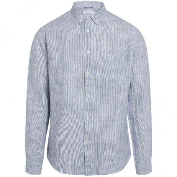 "Knowledge Cotton Larch LS Striped Linen Shirt ""Total Eclipse"" 90827"