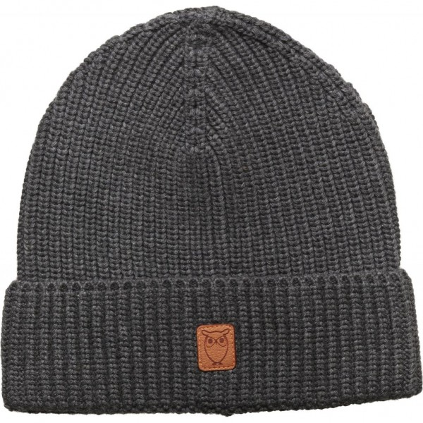 "Knowledge Cotton Ribbing Hat ""Dark Grey Melange"" 82214"
