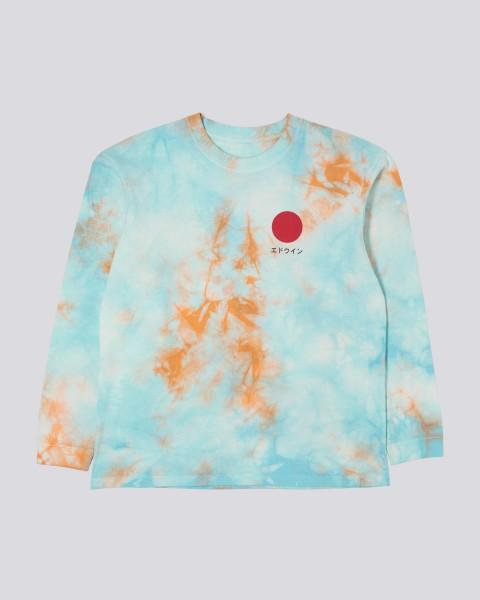 "Edwin Japanese Sun 2 T-Shirt Longsleeve Cotton Single Jersey ""Angel Blue/Cantaloupe - batik garment"