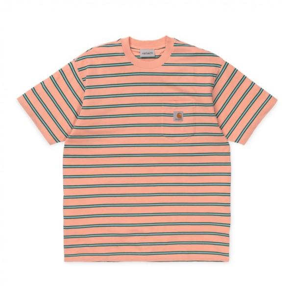 "Carhartt WIP Houston Pocket T-Shirt ""Peach Stripe"" I026370"