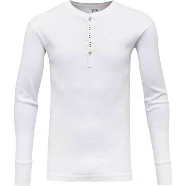 "Knowledge Cotton Rip Knit Henley ""Bright White"" 81003"