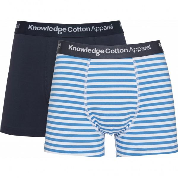 "Knowledge Cotton Maple Underwear 2 Pack Striped ""Bright White"" 81081-1010"