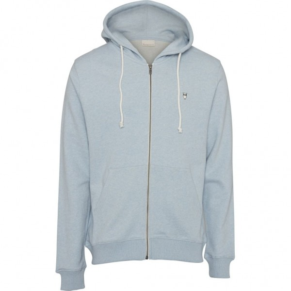 "Knowledge Cotton Elm Small Owl Zip Hoodie Sweat ""Sky Way Melange"" 30186"