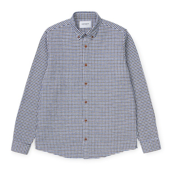 "Carhartt WIP L/S Thome Shirt ""Thorne Houndstooth, Tobacco / Wachs"" I028234"