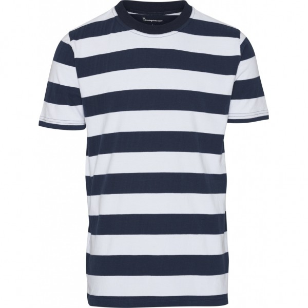 """Knowledge Cotton Striped O-Neck Tee """"Total Eclipse"""" 10527"""