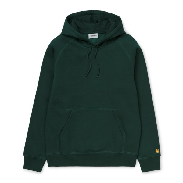 "Carhartt WIP Hooded Chase Sweat ""Dark Fir /Gold"" I026384"