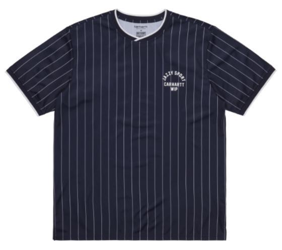 """Carhartt WIP S/S Jazzy Sport Jersey """"Navy / White Stripes"""" I029386"""