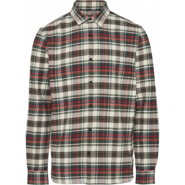 "Knowledge Cotton L/S Checked Flannel Shirt ""Green Forest"" 90772"