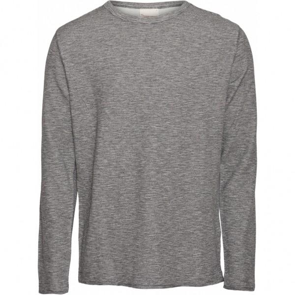 """Knowledge Cotton Elm doublelayer striped sweat """"Dark Grey melange"""" 30385"""