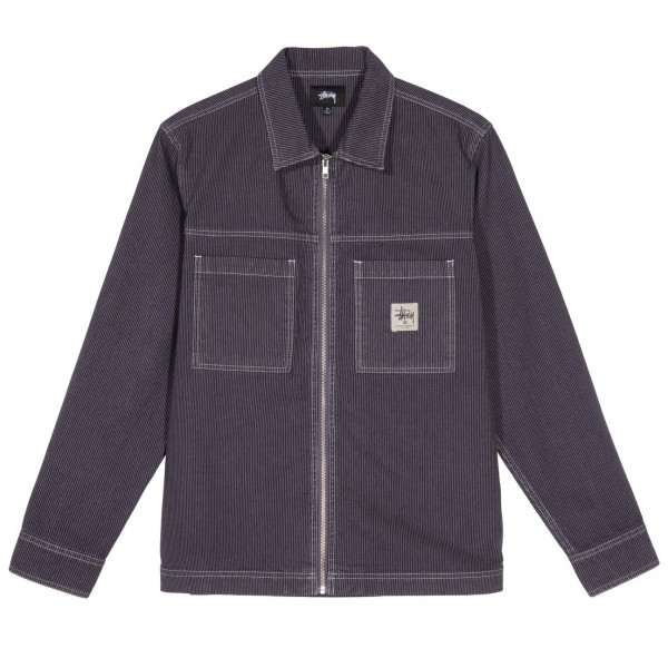 "Stussy Overdyed Hickory LS Zip Shirt ""Purple"" 1110115"