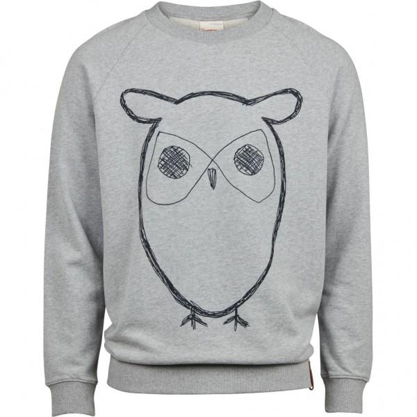 "Knowledge Cotton Sweat Owl Print Crewneck ""Grey Melange"" 30295"