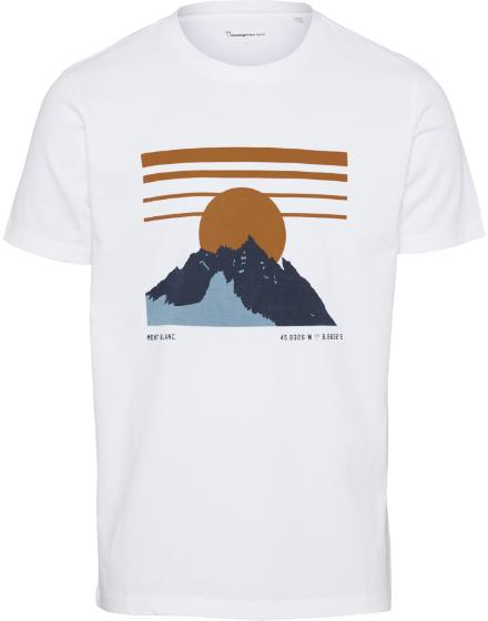 "Knowledge Cotton Alder Heavy Mountain Print Tee ""Bright White"" 10586"