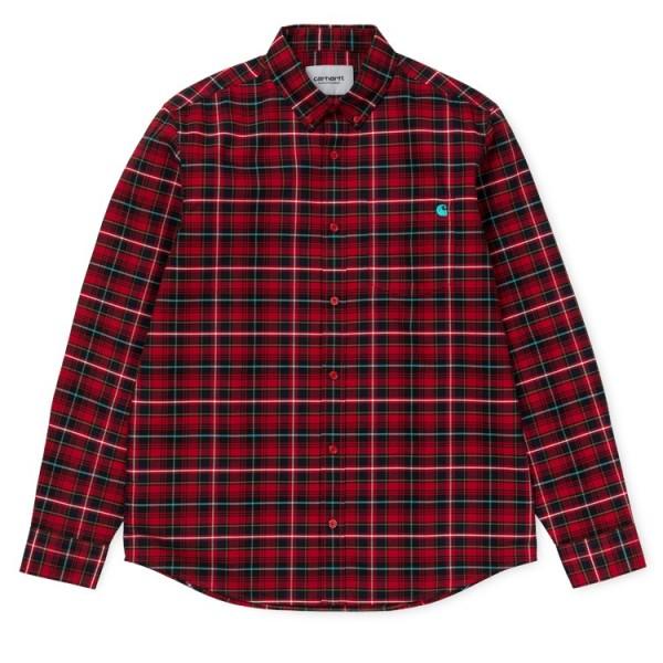 "Carhartt WIP L/S Patton Shirt ""Check / Blast Red"" I025244"