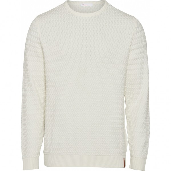 "Knowledge Cotton Small Diamond Knit Sweater ""Winter White"" 80399"