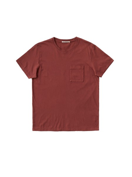 "Nudie Jeans Roy One Pocket Tee ""Brick Red"" 131687"