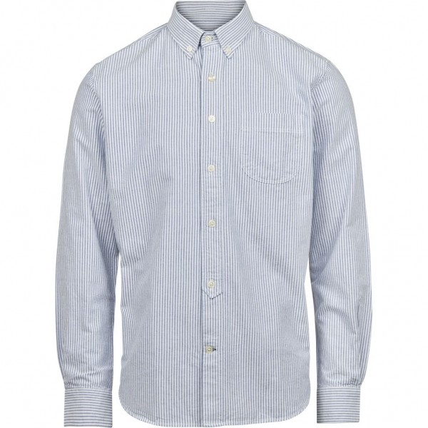 "Knowledge Cotton L/S Button Down Oxford Shirt Striped ""Skyway"" 90103"