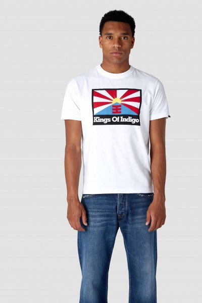 "Kings Of Indigo Darius Tee "" Rising Sun Flag White"" K200154016"